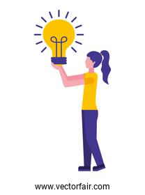 young woman with light bulb character