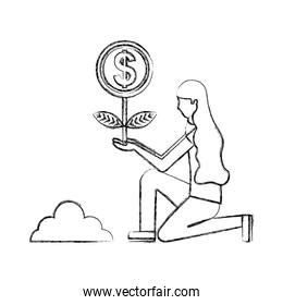 woman planting plant coin money