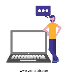 beard man with laptop and speech bubble