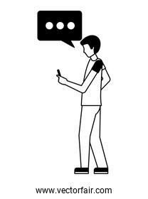 man character using smartphone device