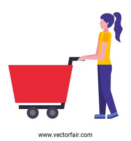shopping cart with woman character