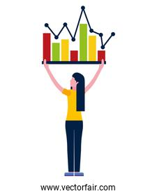 young woman with statistics graph