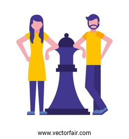 couple with queen chess piece isolated icon