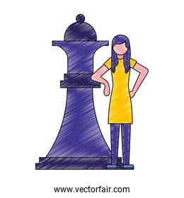 woman with big chess piece queen