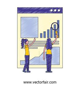 women business with magnifying glass site business graph