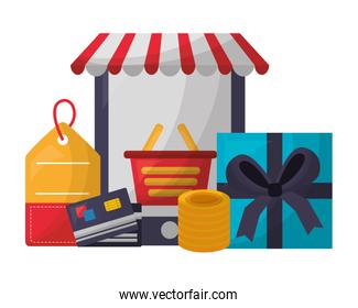 smartphone shopping basket gift price tag bank card coins buy online