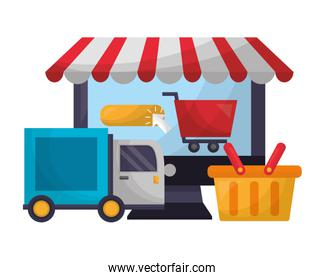 computer shopping cart delivery truck basket click buy online