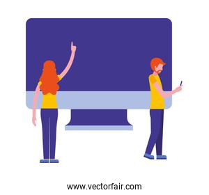 couple with computer monitor isolated icon