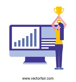 computer monitor with young woman and trophy