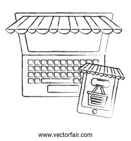 computer and cellphone shopping basket click buy online