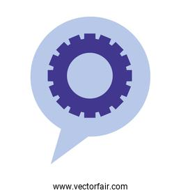 speech bubble with gear isolated icon