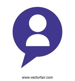 speech bubble with silhouette of person isolated icon