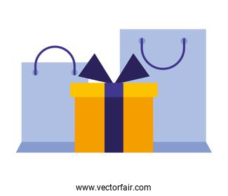 shopping bags with gift box present