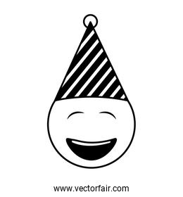 birthday face closed eyes emoji party hat black and white