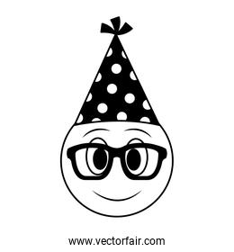 birthday face emoji with glasses party hat black and white