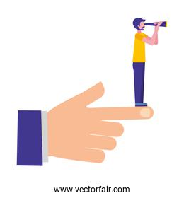 hand with young man and telescope