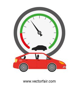 speed gauge with car isolated icon