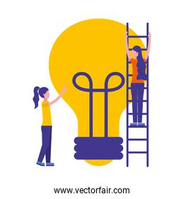 women with light bulb isolated icon