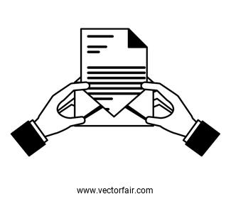 hands with envelope mail and document isolated icon