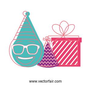 birthday emoji face glasses with party hat and gift