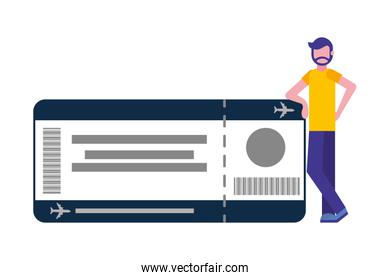 young man with ticket flight isolated icon
