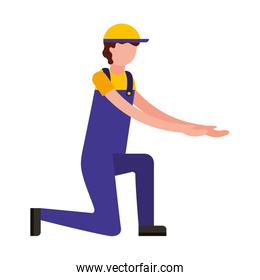 worker employee character with sport cap and overalls