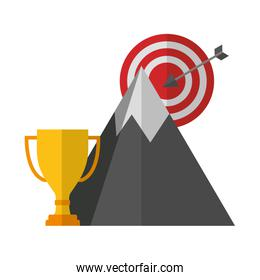 target arrow success with mountain and trophy cup