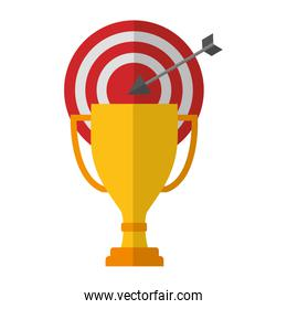 target arrow success with trophy cup