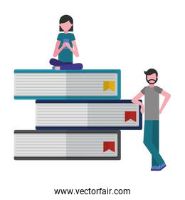 young people with pile library books isolated icon