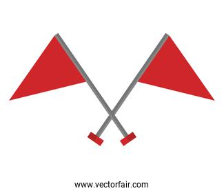 flags markers with crossed sticks isolated icon
