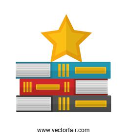 pile of library books with star isolated icon