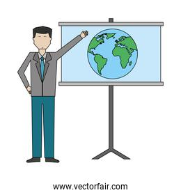 businessman with paperboard training isolated icon