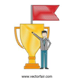 businessman with trophy and flag success