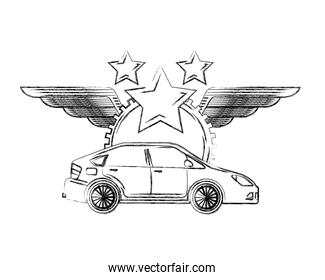 industry automotive car vehicle gear star wings stamp