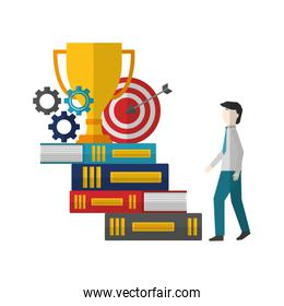 businessman climbs stairs of books with gears target trophy