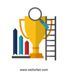 business trophy magnifying glass stairs chart