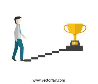 businessman climbs stairs with trophy on top