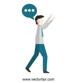 businessman with speech bubble avatar character