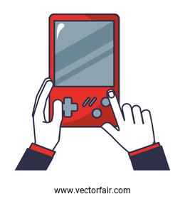 hands with video game portable isolated icon