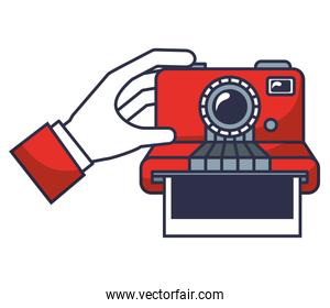 hand with camera photographic instant isolated icon