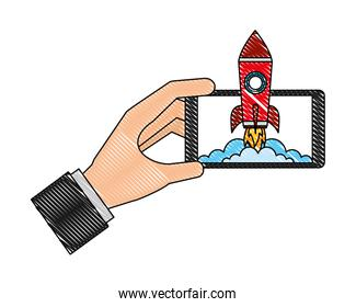 hand with smartphone rocket success