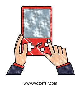 hands with console video game retro portable
