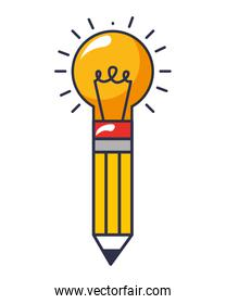 bulb pencil isolated icon