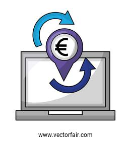 laptop computer with euro and arrows economy