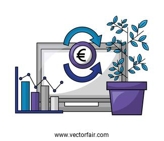 laptop computer with euro and plant