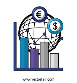 planet with dollars and euro economy