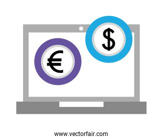 laptop computer with euro and dollar