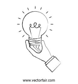 hand holding light bulb idea creativity