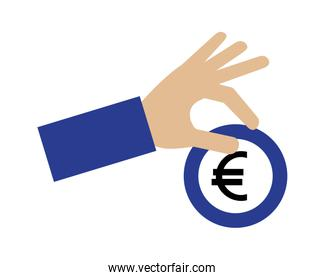hand holding coin euro currency money