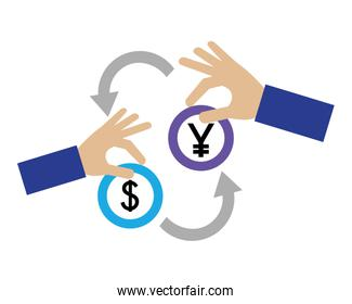 isolated foreign exchange hands with yen and dollar coins